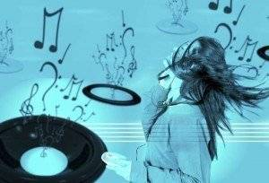 girl listening to music over a cyan musical background