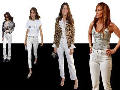 jeanși albi