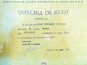 diploma din 1963 - mate II