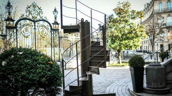 (FILES) In this file photo taken on November 12, 2020  shows a section of the original Eiffel Tower's stairs, displayed in front of the Artcurial auction house in Paris. - The section of the Eiffel Tower's spiral staircase was sold on December 1, 2020 for 274,475 euros (including costs) and joined a private European collection, the auction house Artcurial announced. (Photo by STEPHANE DE SAKUTIN / AFP)